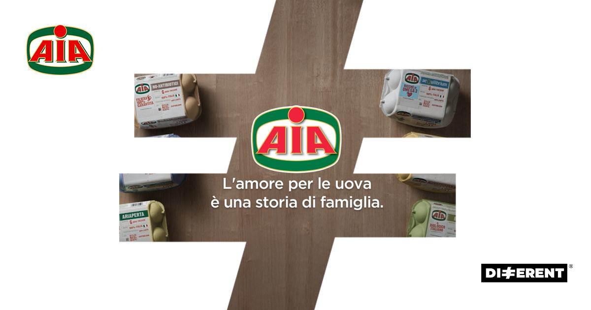 """Different firma la nuova campagna e riposiziona le Uova AIA con il concetto """"L'amore per le uova è una storia di famiglia""""."""